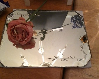 Antique 30's Beveled Etched  Art Deco Vanity Perfume Mirrored Tray