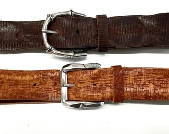 Tooled leather belt dark brown or tan