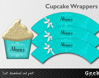 Blue Baby/Bridal Shower Cupcake Wrappers - Printable - New Baby - Birthday - Sweet Sixteen - Shower