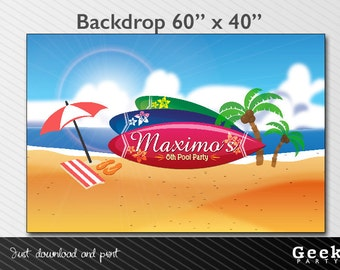 Summer - Surf - Pool Party Style Backdrop - Printable - Palm Tree - Umbrella - Flip Flops