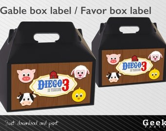 Farm Animals Style Party Gable Box Label - Printable - Cow - Pig - Chicken - Sheep