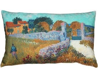 Van Gogh Farmhouse in Provence Throw Pillow