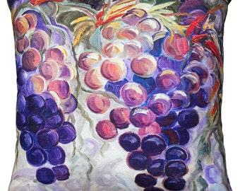Purple Grapes 20x20 Throw Pillow