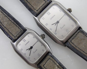 "Rare Vintage Swiss Made Gunmetal Stainless Steel ""Chrona"" His & Hers Watch Set by Macy's"