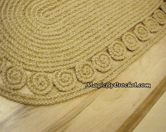 Oval jute rug Crochet 60 inches Braided Rug, Natural fiber Rug