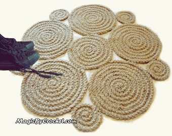 Flower Crochet Rug / Natural Jute Rug / Handmade Rug , Small Area Rug, no.003