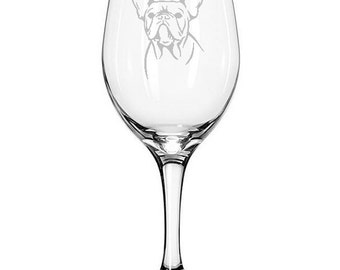 Frenchie French Bulldog Wine Glass 21 ounces - Available Stemmed or Stemless