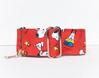 Friends Happy Dance martingale collar (dog collar, greyhound martingale, animation, cartoons, handmade, fabric, red, cotton)