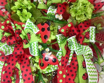 24 inch Whimical Lady Bug Mesh Spring and Summer Wreath