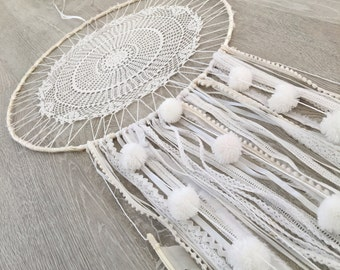 Large white boho dream catcher