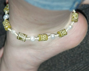 Boho anklet with reclaimed beads and freshwater pearls