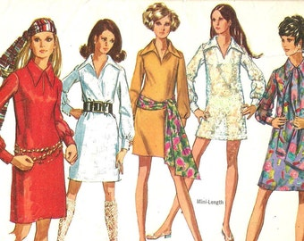 8333 Simplicity Sewing Pattern Dress Slash Opening Pointed Collar Size 14 36B Vintage 1960s
