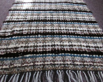 Browns, Borgana, Teal Accent Woven Rug