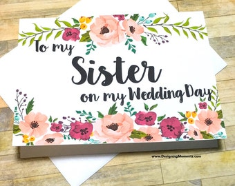 Sister Wedding Card, Sister Thank You Card, To My Sister on my Wedding Day - Card for Sister - Wedding Day Card - Wedding Card - MULBERRY
