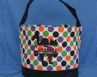 Multi Colored Polka Dot Embroidered Halloween Bucket - Personalized Trick or Treat Candy Bag - Monogrammed Halloween Candy Bucket - Pumpkin