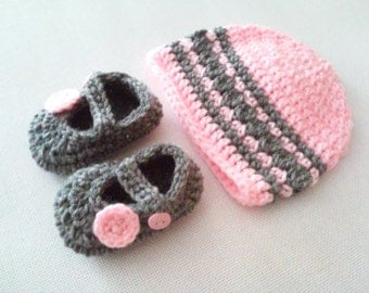CLEARANCE! RTS 0 to 3 Months Baby Striped Beanie Hat & Mary Jane Booties - Baby Pink, Grey