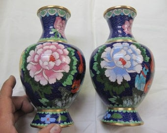 Vintage Pair of fabulous Cloisonne Vases in the box