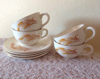 4 Tea Cup Sets Golden Wheat by Homer Laughlin