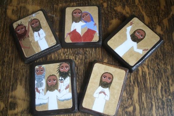 Set of 5 2.5 ish by 3.5 ish inch Luminous Mysteries byzantine/folk icon on wood