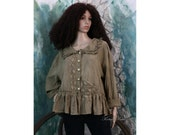 Vilma - Bohemian Blouse - Hand Dyed Coffee Linen Gauze Cropped Jacket with Frills Plus Size Romantic Lagenlook OOAK