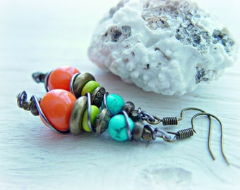Boho Earrings - Boho Jewelry - African Earrings - Dangle & Drop Earrings - Boho Hippie Earrings - Hippie Earrings - Ethnic Earrings