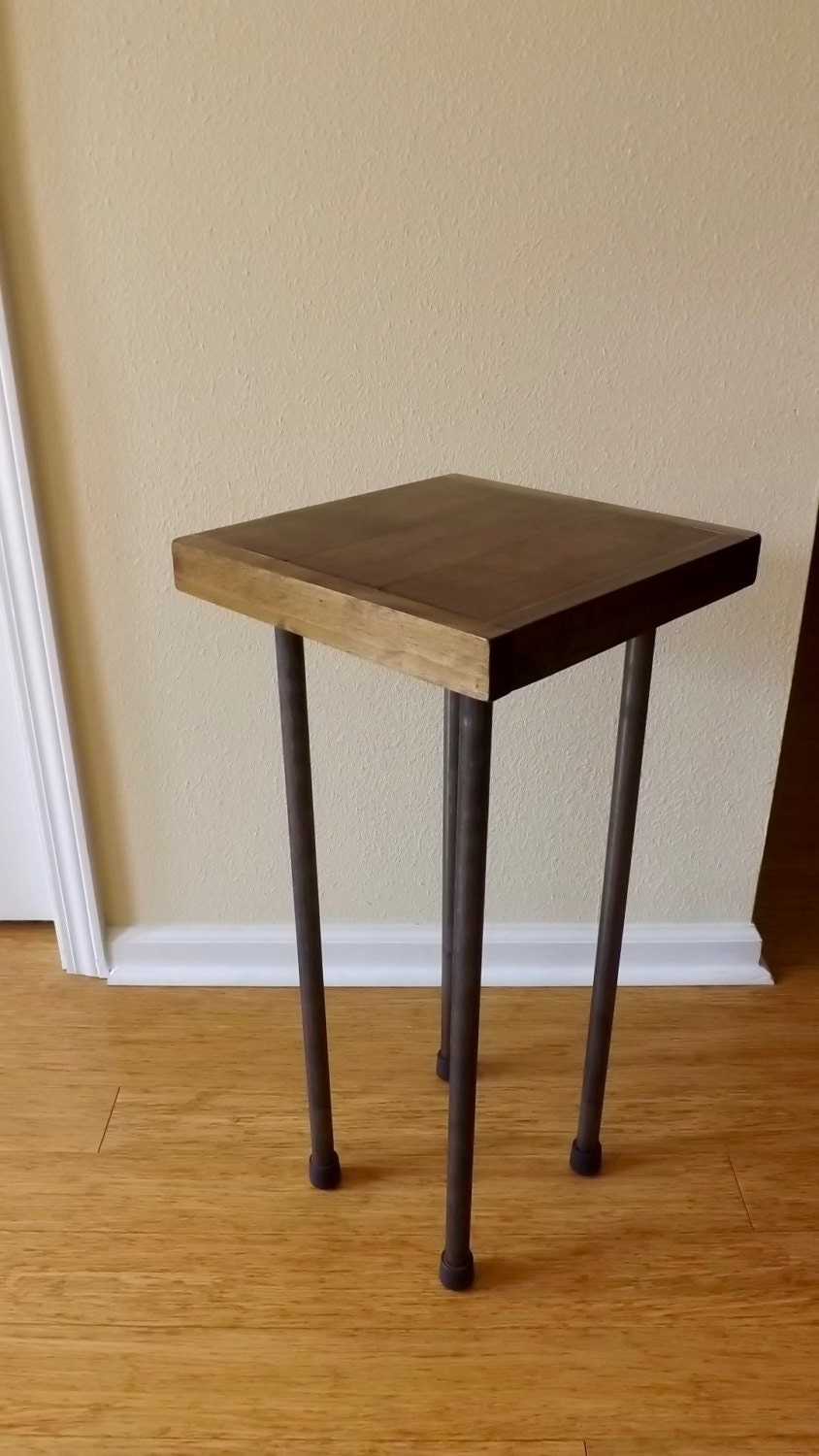 small wood metal end table. Black Bedroom Furniture Sets. Home Design Ideas