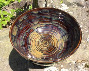 Pottery - Ceramic serving bowl - Handmade pottery - Brown pottery bowl