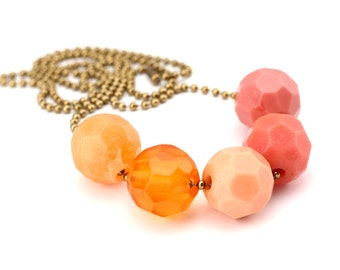 Blush Pink Coral Resin Bead Necklace. Faceted Geometric Handmade Beads. Metal Ball Chain. One of a Kind. Handcrafted in Australia