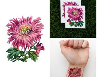 Tattify Chrysanthemum Flower Temporary Tattoo - Mums the Word (Set of 2)