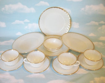 Fire King Milk glass white dinner plates, cups, saucers, gold trim, 14 pieces