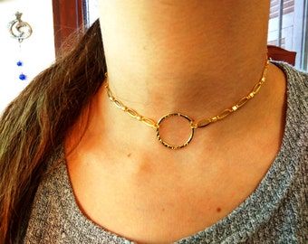 Gold round chocker, Simple necklace, Collar neckalce, Gold chocker, Gold collar, Yello gold filled, Unique chocker, Dainty collar, love gift
