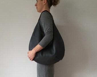 Large black leather shoulder bag tote bag leather hobo