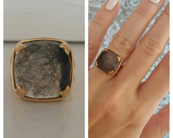 14K Gold Vermeil Plated Sterling Silver 925 Cushion Cut Square Black & White Rutilated Quartz Antique Minimal Large Statement Ring Size 6