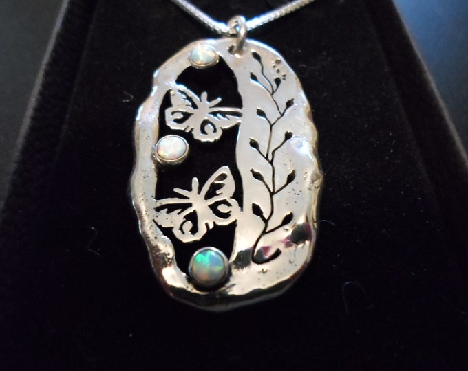 """Butterfly necklace large 39x24mm with 2  4mm created opal stone w/ 20"""" sterling silver chain"""