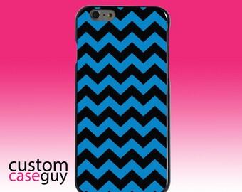 Hard Snap-On Case for Apple 5 5S SE 6 6S 7 Plus - CUSTOM Monogram - Any Colors - Black Blue Chevron Stripes