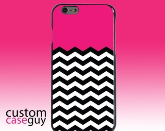 Hard Snap-On Case for Apple 5 5S SE 6 6S 7 Plus - CUSTOM Monogram - Any Colors - Black White Hot Pink Chevron