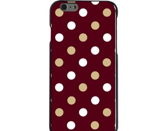 Hard Snap-On Case for Apple 5 5S SE 6 6S 7 Plus - CUSTOM Monogram - Any Colors - Florida State FSU Seminoles Colors - Polka Dot Pattern