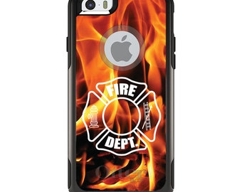 OtterBox Commuter for Apple iPhone 5S SE 5C 6 6S 7 8 PLUS X 10 - Custom Monogram - Any Colors - Flames Fire Department