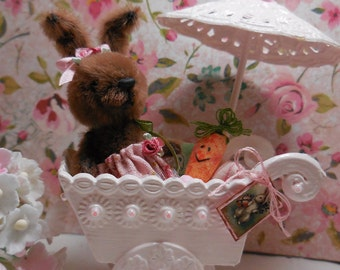 ooak miniature bunny and buggy cart