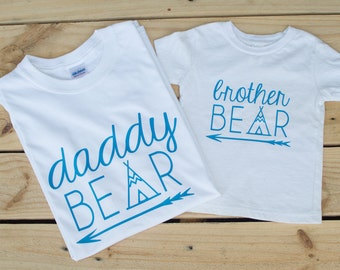 Daddy Bear & Brother Bear Shirts - Daddy and Baby Matching Shirts - Matching Father Son Shirt Set - Family Shirts -  Gift for Him