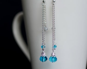 Long Dangle Earrings, Silver Earrings, Bridesmaid Gift, Long Crystal Earrings, Blue Crystal Earrings, Gift for Her, Crystal Drop Earrings