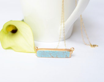 Turquoise Bar Necklace, Simple Statement Necklace, Turquoise Pendant, Turquoise and Gold, Turquoise Necklace, Bridal Necklace Something Blue