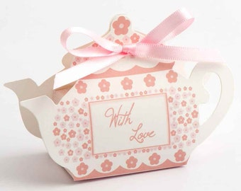 10 x Teapot Wedding Favour Boxes available in Pink or Taupe | DIY Favour Boxes | Flatpack Favour Boxes | Wedding Favour | Tea Party Favours