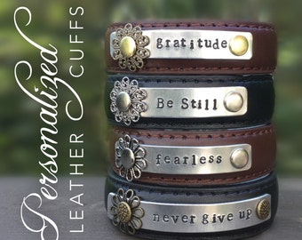 Personalized skinny leather cuff bracelet, custom metal stamped cuff, Inspirational words, Love Squared Designs, up cycled, narrow