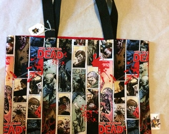 Walking Dead Comic Panel Tote Bag, Trick or Treat Halloween Bag, Reusable Shopping Bag, Laptop Sleeve