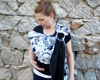 SALE!Baby Sling /Balck ring sling/Baby Carrier/Reversible Baby ring Sling/Baby Wrap/ Sling leaves/New born gift SALE!
