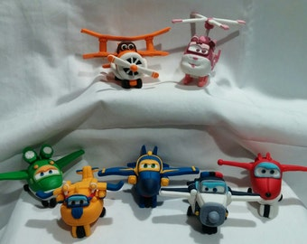 7 Super Wing Airplanes Characters - 3D Fondant toppers- Cute planes just made them for your birthday!