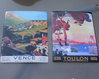 French vintage pub sign South of France Toulou Vence 1980s Post cart winter summer sea view lady painting wall decor mountain