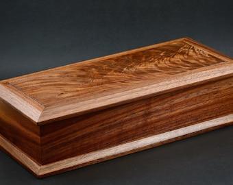 Walnut box made with crotchwood top keepsake trinket handmade