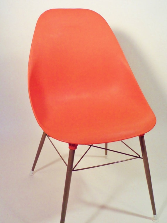 Mid Century Shell Chair Orange Sam Avedon Bucket Seat